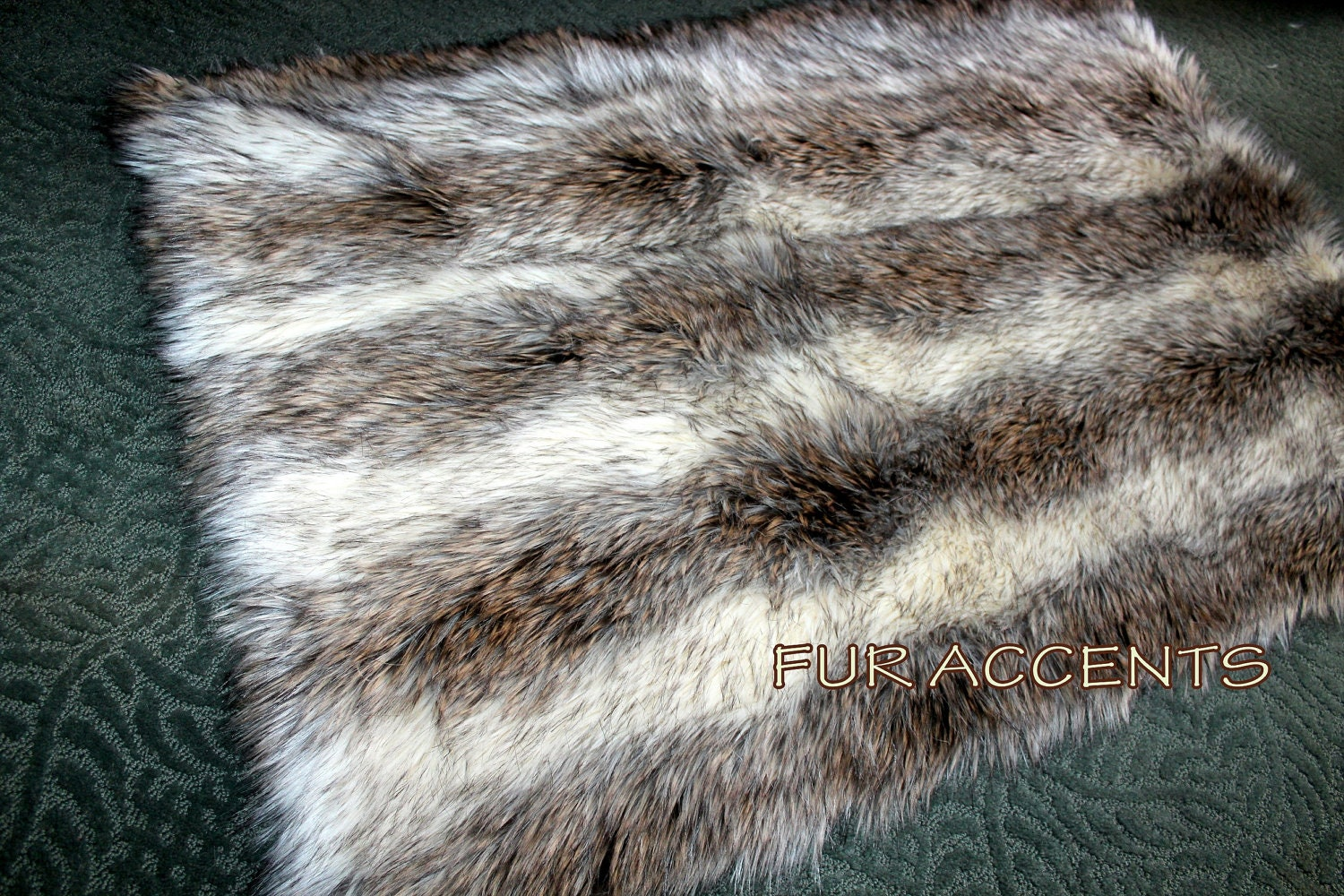Fur accentgs shaggy gray stripe faux fur area rug by for Fur rugs