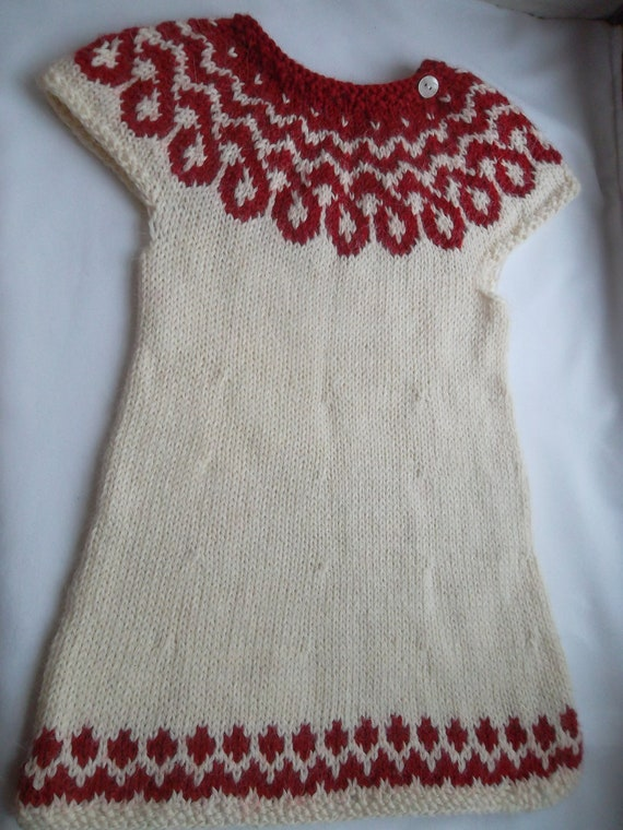 Hand knit icelandic woollen sweater dress tunic ages 9 months until 2