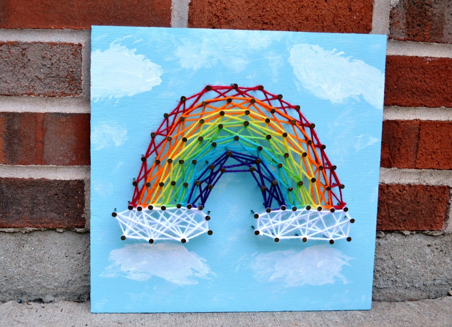 Rainbow Nail and String Art