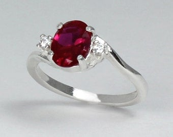 Sterling Silver Ruby Ring with Diamonds (Lab) July Birthstone / Ruby Ring Silver