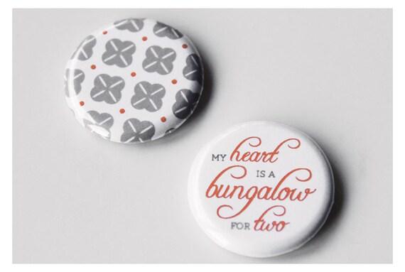 SALE // 50% OFF // Magnets - My heart is a bungalow // Romantic handmade set of 2 // Unique Valentine gift // Fridge magnet