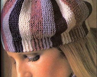 Jaunty 1970's Beret and Matching Scarf Knit Pattern Winter Accessories