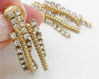 vintage rhinestone earrings, 1970s dangle rhinestone earrings wedding prom jewelry