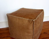 Handmade leather pouf / ottoman / foot stool - brown