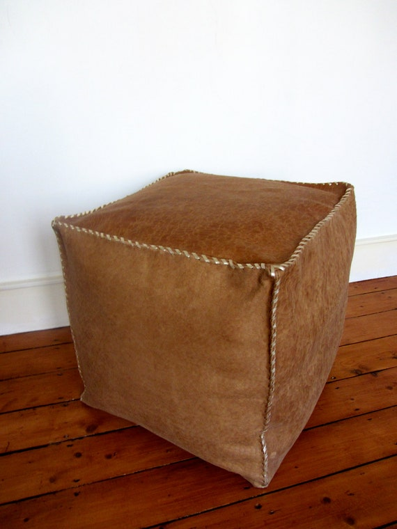 Items Similar To Handmade Leather Pouf Ottoman Foot