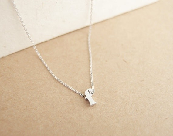 Lowercase initial necklace sterling silver by for Lowercase letter necklace