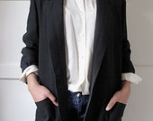 80s black tuxedo style jacket by Jaques Vert