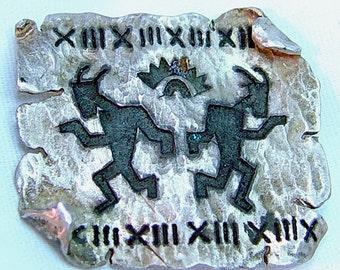 Sterling Petroglyph Dancers Brooch - Vintage Southwest Dancing Figures - Primitive Cave Drawings