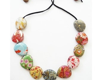 Origami Bead Necklace, Japanese Chiyogami Paper Decoupage and Resin covered Wooden Bead