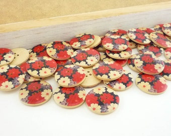 Wood Sewing Buttons Japanese Flower Blossom Design (25mm 6pcs set)