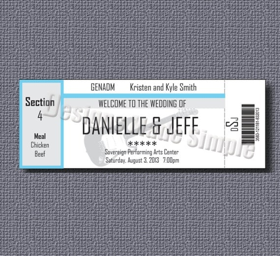 Concert Ticket Wedding Place Cards Printables Qty 50 – Make Your Own Concert Ticket