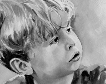 Custom watercolor portrait, single subject , black and white