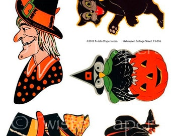 1940s HALLOWEEN PARTY Illustrations, Witch, Flying Witch, Black Cat, Jack-O-Lantern, Owl, Digital Vintage Collage Sheet, 13-016