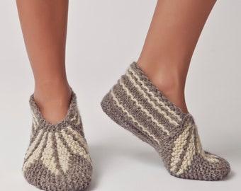 Wool Slippers, Handknit Wool Socks, Warm, Soft, Knitted Socks, Men's and Women's Slippers: Varna