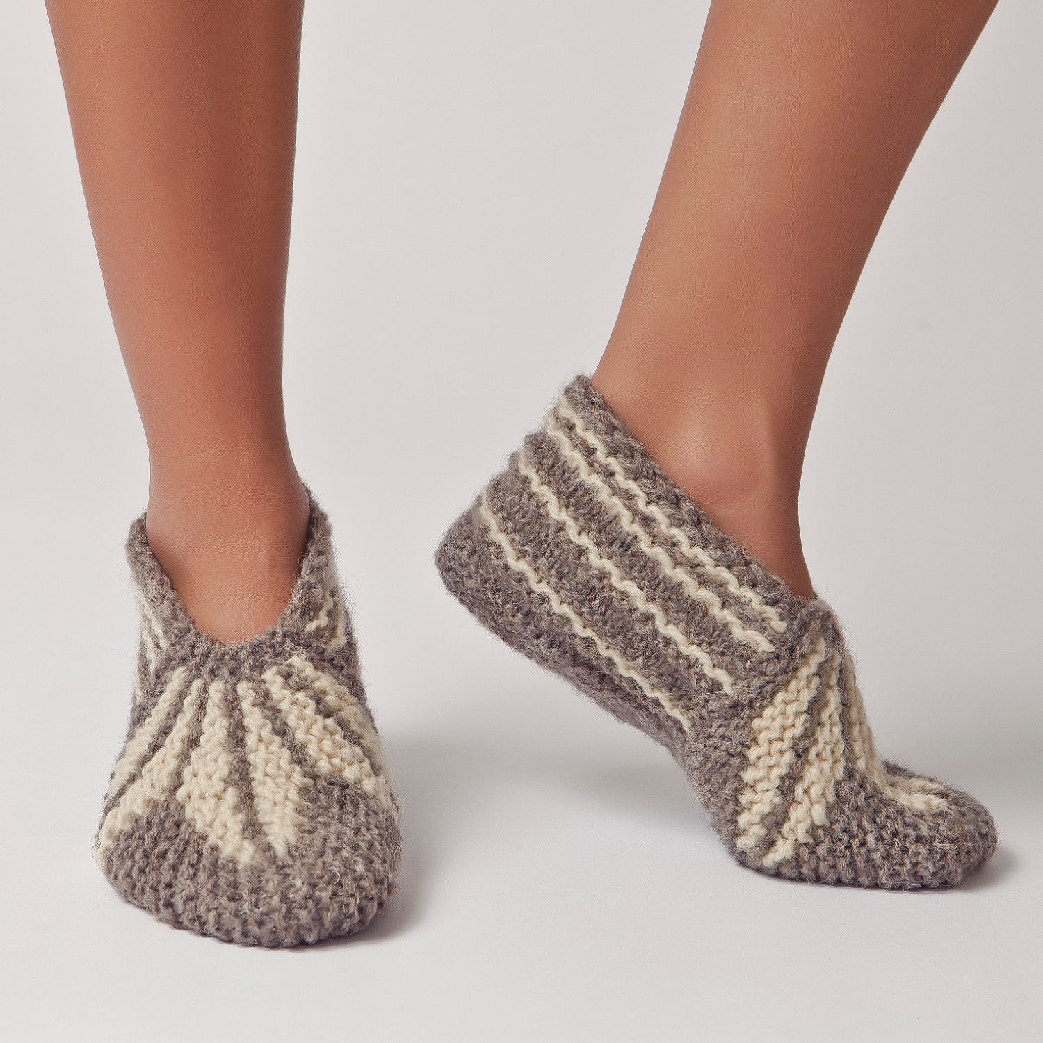 Knitting Women S Socks : Wool slippers handknit socks warm soft knitted