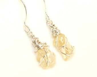 Citrine earrings, wire wrapped earrings, citrine jewelry, sterling silver earrings, November Birthday