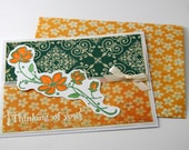 Thinking of You Card in Peach - Handmade - Set of (3) - Gift Card - Greeting Card