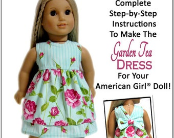 Pixie Faire 123 Mulberry St Garden Tea Dress Doll Clothes Pattern for 18 inch AG Dolls - PDF