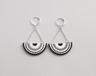 "Plexiglas and silver plated brass ""MOJO"" earrings"
