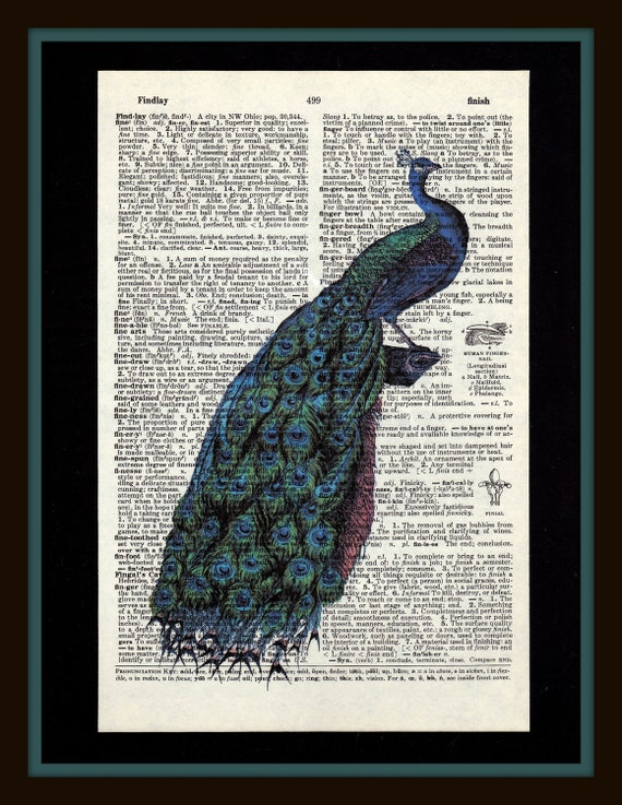 Shabby Chic Peacock on Antique Dictionary Page - Shabby Chic - Home Decor - Peacock - Peacock Blue