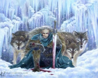 Free Shipping to US - Warrior with Grey Wolves Fantasy Art - Tempest of Ice - 8x10 Art Print - by Mitzi Sato-Wiuff