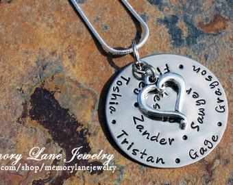 8 - 10 Name Mother's/Grandmother's Heart Necklace - Sterling Silver Charm