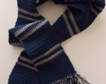 Blue & Silver Striped Scarf - Made to Order