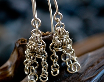 Sterling Silver Triangle Chandelier Chainmaille Dangle Earrings