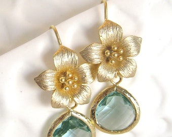 Aqua Earrings Gold Flower Earrings Gold Bridesmaid Earrings 14 karat Aqua Bridal Jewelry Aqua Bridesmaid Earrings Aqua Wedding Jewelry