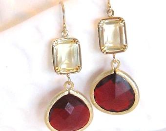 Red Earrings Yellow Earrings Garnet Ruby Red Yellow Sapphire Crystal Gold Earrings Red Bridal Jewelry Red Bridesmaid Earrings Red Wedding