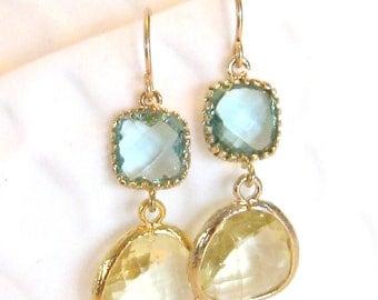 Yellow Aqua Earrings Yellow Earrings Gold Earrings Aqua Mint Earrings Yellow Bridesmaid Earrings Mint Bridesmaid Aqua Wedding Jewelry Gift
