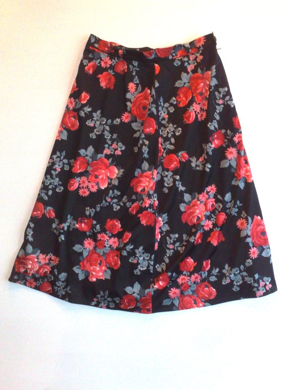 Vintage Black Russian Floral High Waist Skirt