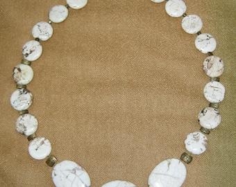 "Magnesite Necklace - 24"" - bronze tone finishing. Made in Oregon"