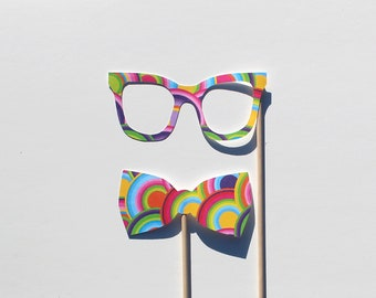 Best Photo Booth Props - Psychedelic Glasses and Bow Tie Photobooth Props