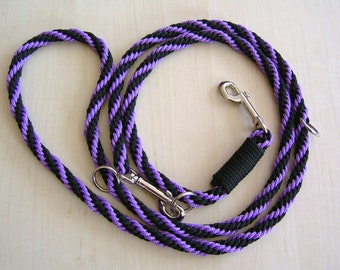 dog leash, hand-plaited, black and purple