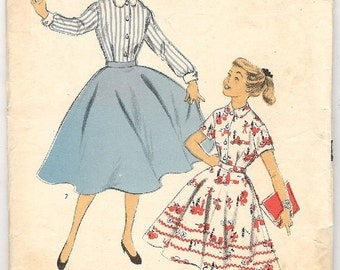 Vintage 50s Advance girl's dress sewing pattern / style 6790 / 1950s two piece size 10.5