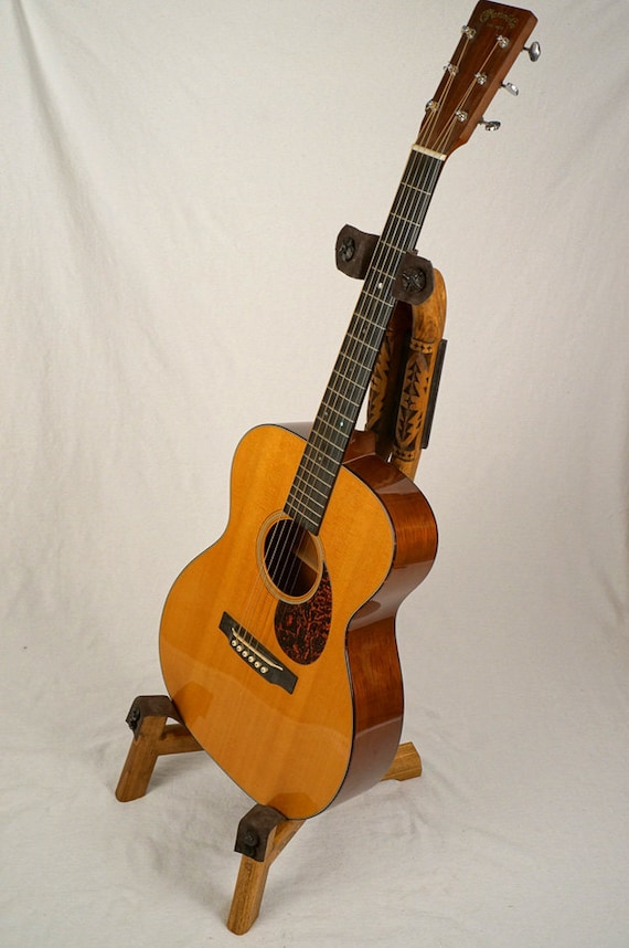 Handcrafted Wooden Guitar Stands ~ Handcrafted wood guitar stand with hand by johnvictorcarving