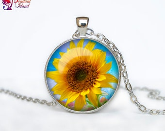 Sunflower pendant Sunflower necklace Sunflower jewelry flower necklace
