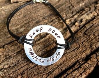 "Handstamped - Karma bracelet - ""keep your circle positive"" - infinity circle - custom jewelry - custom bracelet - infinity bracelet"