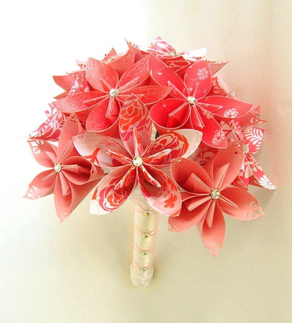 Origami Wedding Flowers: Coral Breezes Wedding Bouquet Bridal Bouquet By