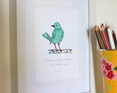Bird Quote 5 x 7 Art Print/Wall Art - Modern Vintage Baby Nursery House & Children's Room Decor - BrionyBurke