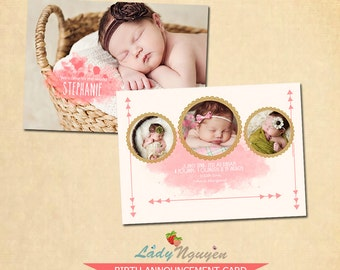 INSTANT DOWNLOAD 5x7 Birth Announcement Card Template - CA101