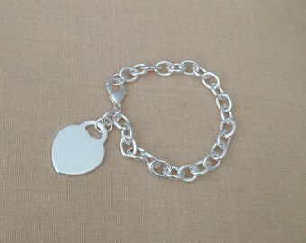 Sterling Silver Heart Bracelet (925 silver plated), Heart Charm, Fashion Jewelry, Silver Chain, JEW000009