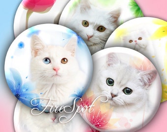 Flower White Cat -Digital Collage Sheet  2.5 inch,3inch set of 6 Circle,Downloadable images,coaster,Cosmetic Mirror