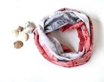 Batik Scarf, Tie Dye Scarf, Summer Cotton Circle Scarf, Boho Loop Scarf, Coral Gray White Patterned Infinity Scarf, Designscope