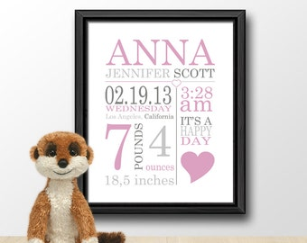 baby birth date print pink, custom baby name nursery art, personalized new baby print, baby shower gift, new baby announcement, baby stats