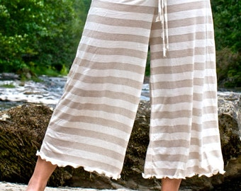 stripe palazzo wide leg  gaucho yoga lounge beach  resort (calf length) capri pants with drawstring