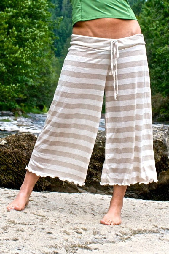stripe palazzo wide leg gaucho yoga lounge beach resort