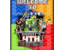 Rescue Bots Welcome Sign, Rescue Bots Happy Birthday Signs Printables-YOU PRINT