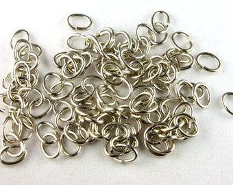 Silver Plated 6mm Oval Jump Rings (8grams - approx. 100x) - F007